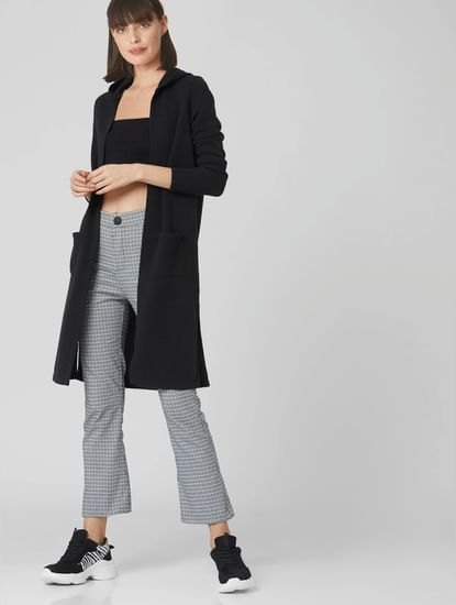 Black Hooded Long Cardigan