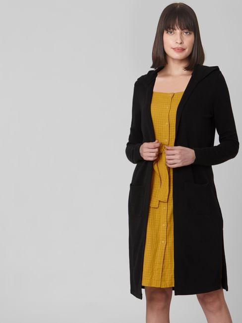 Black Hooded Long Cardigan