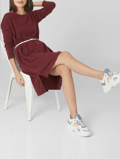 Burgundy Shift T-shirt Dress