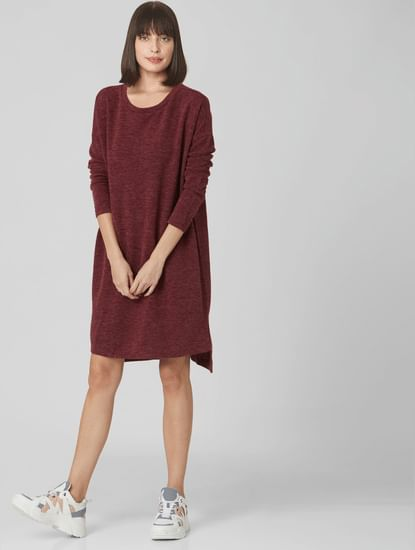 Burgundy Shift T-shirt Dress