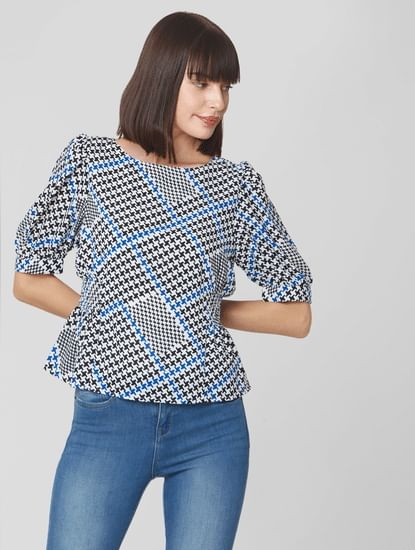 White Houndstooth Print Top