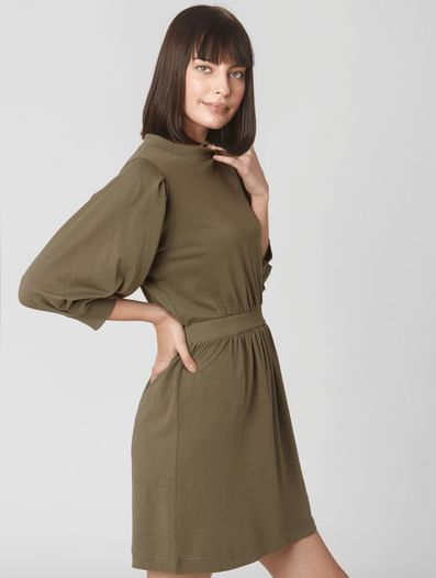 Green Cuff Sleeves Fit & Flare Dress