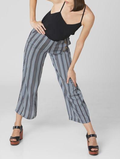 Navy Blue High Rise Striped Pants