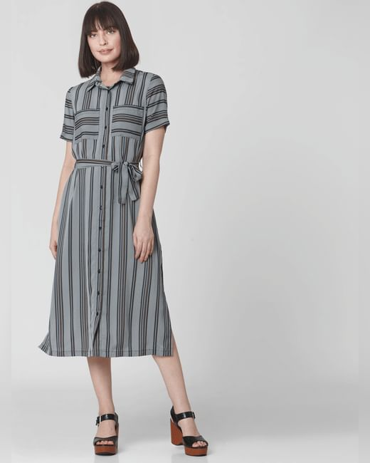 Navy Blue Striped Shirt Dress
