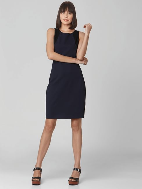 Navy Blue Cut-Out Back Bodycon Dress
