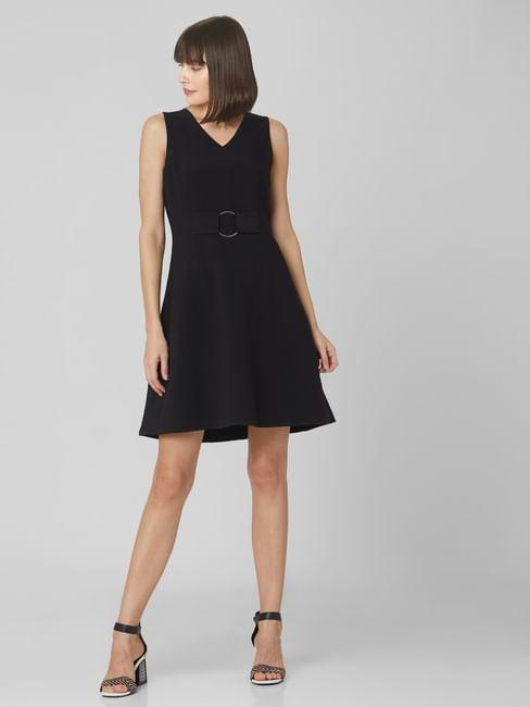 Black Belted Skater Dress