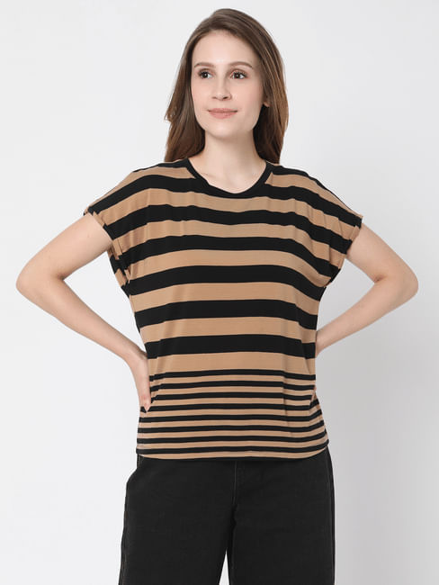 Black & Beige Striped T-shirt