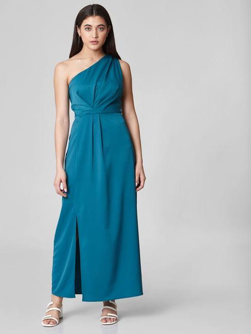 Blue One Shoulder Maxi Dress