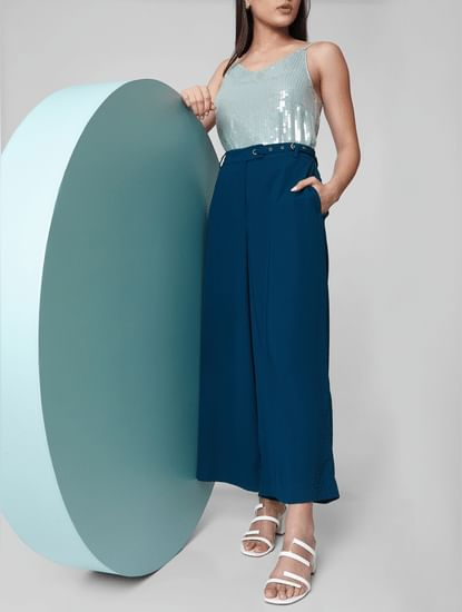 Blue Mid Rise Wide Leg Pants