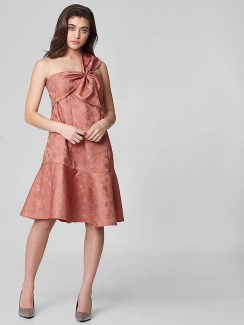 Brown Floral One Shoulder Fit & Flare Dress