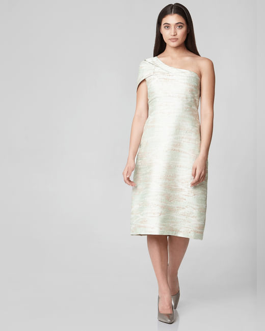 Green Self-Design One Shoulder Midi Dress