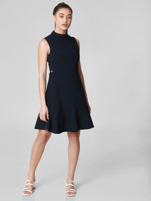 Navy Blue Side Cut-Out Fit & Flare Dress