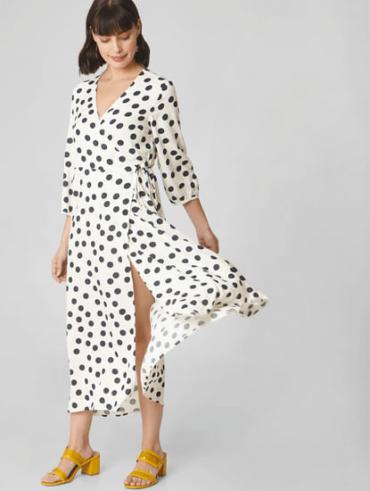 White Polka Dot Wrap Dress