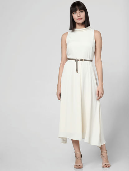 Off-White High Neck Midi Dress