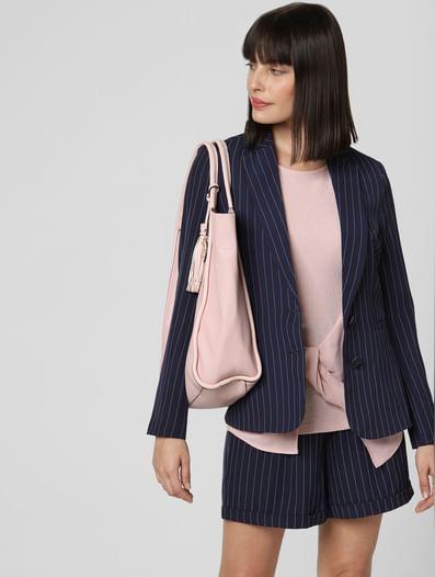 Navy Blue Striped Blazer