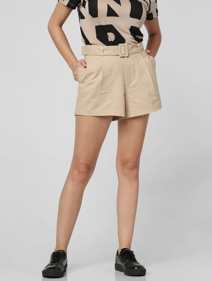 Beige High Rise Shorts