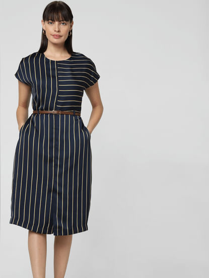 Navy Blue Striped Shift Dress