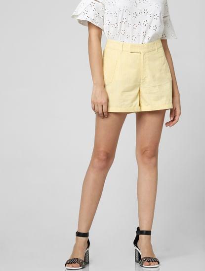 Yellow High Rise Shorts