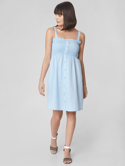 Blue Smock Fit & Flare Dress