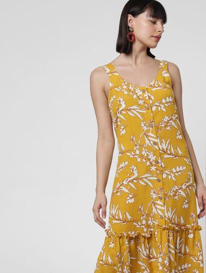 Mustard Floral Print Midi Dress