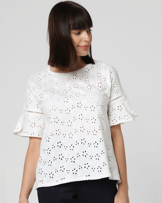 White Cut-Out Detail Top