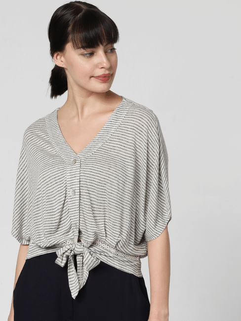 Grey Striped Knot Top