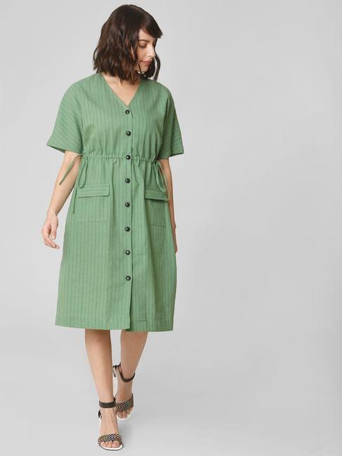 Green Striped Shift Dress