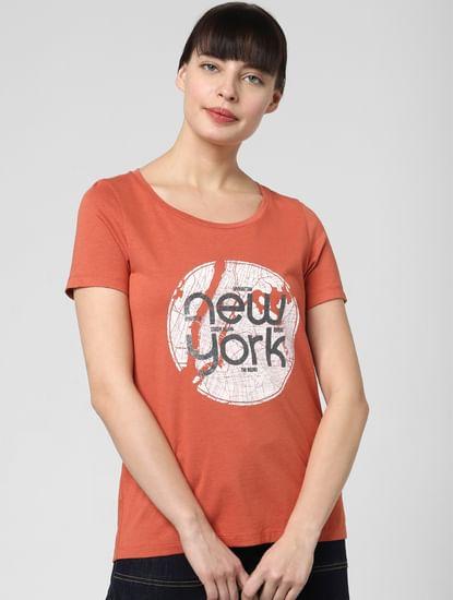 Rust Typographic Print T-shirt