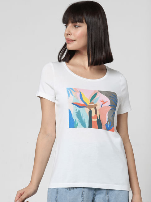 White Patch Print T-shirt