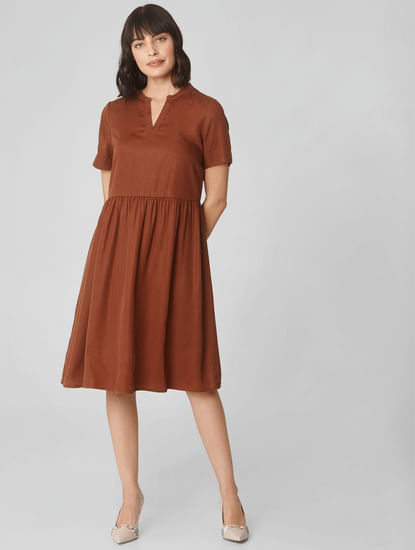 Brown Fit & Flare Dress