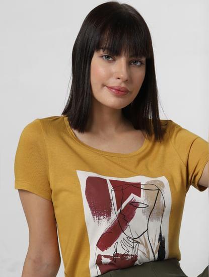 Mustard Patch Print T-shirt