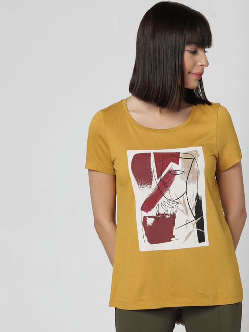 Mustard Patch Print T-shirt