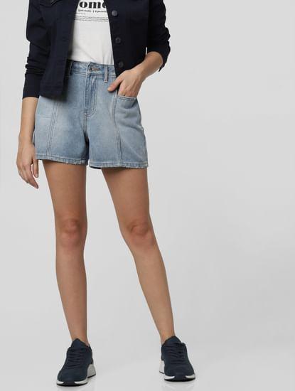 Blue Mid Rise Denim Shorts