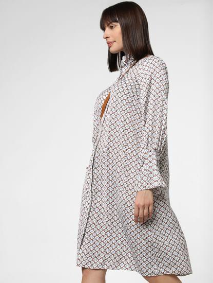 White Geometric Print Shift Dress