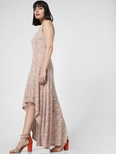 Beige Textured Asymmetric Maxi Dress