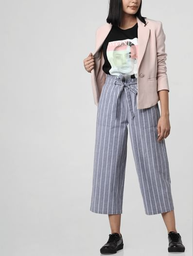 Grey Mid Rise Paperbag Waist Culottes