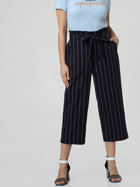 Navy Blue Mid Rise Paperbag Waist Culottes