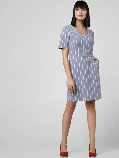 Grey Striped Shift Dress