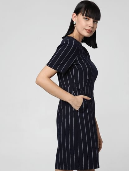 Navy Blue Striped Shift Dress