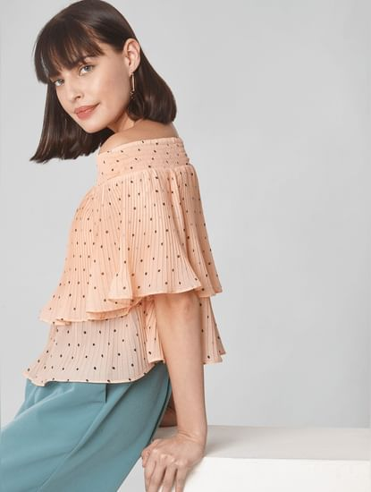 Pink Pleated Off-Shoulder Top