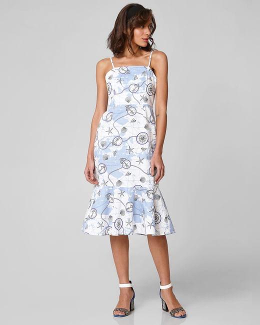 White Nautical Print Midi Dress