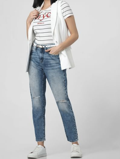 Blue Mid Rise Distressed Girlfriend Jeans