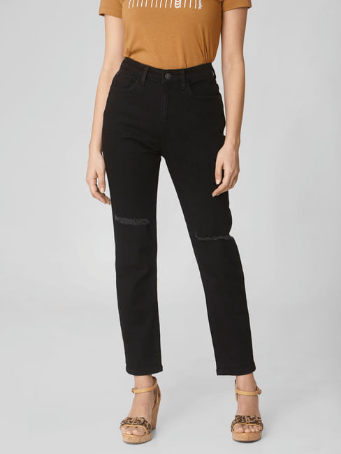 Black Mid Rise Distressed Girlfriend Jeans