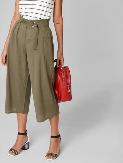 Olive High Rise Belted Pants