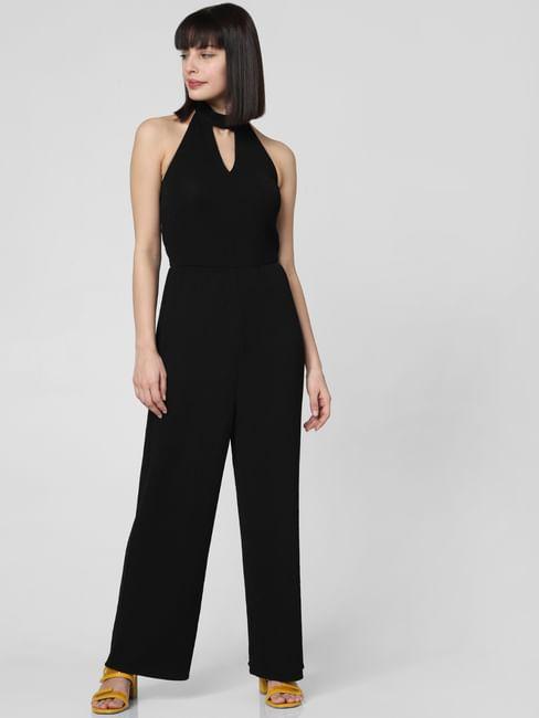 Black Halter Neck Shimmer Jumpsuit