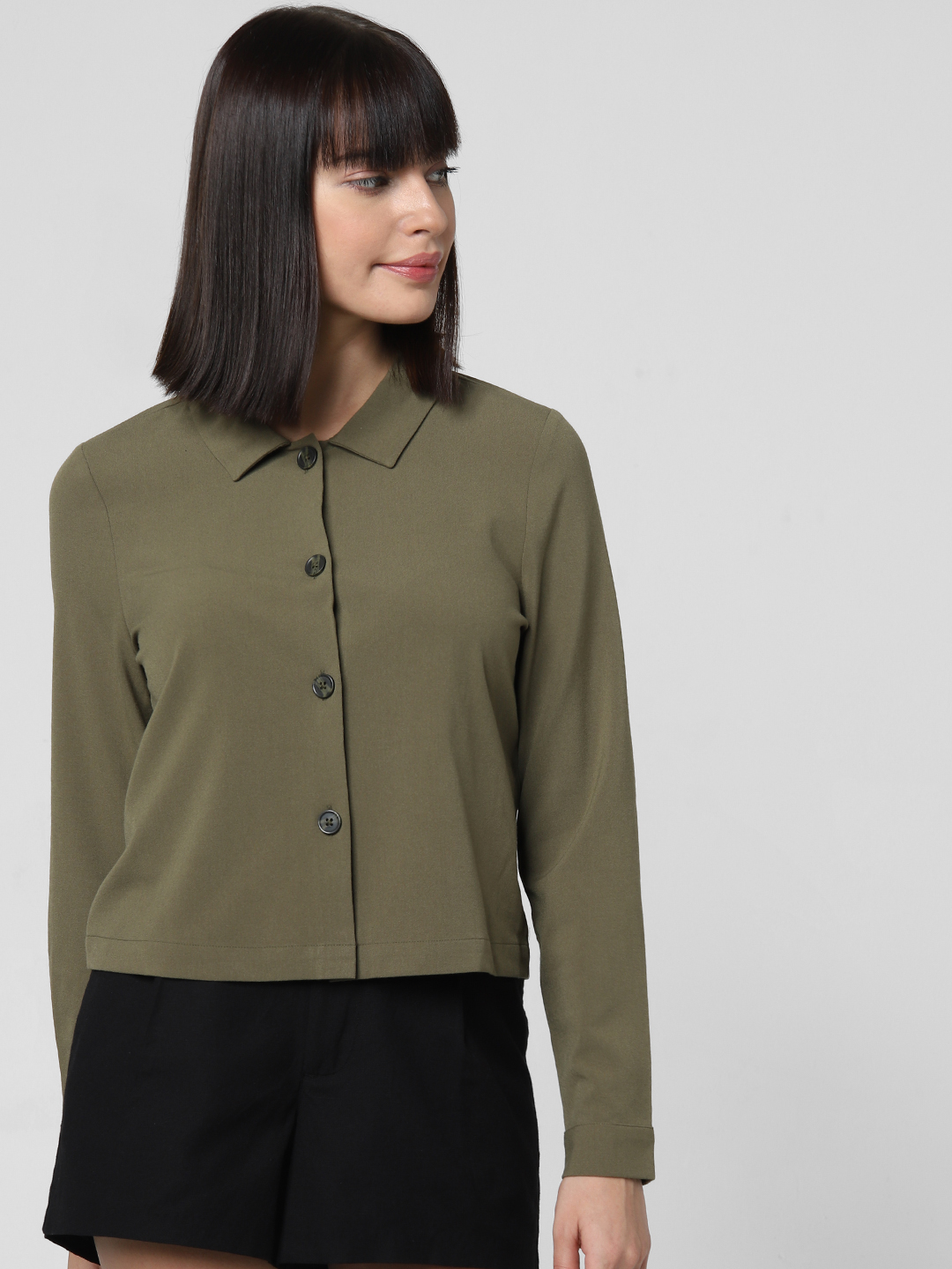 Olive Printed Back Cropped Shirt