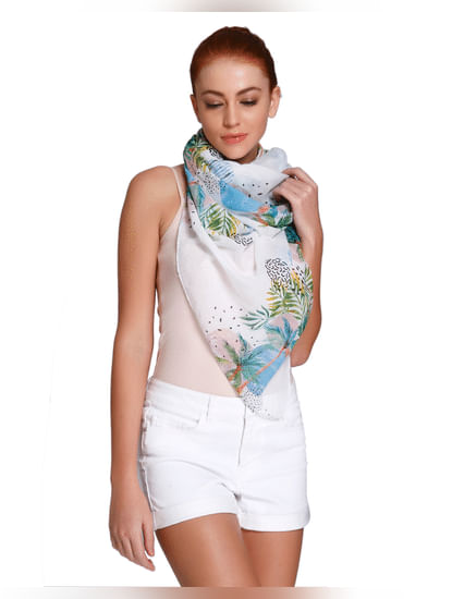 White Tropical Print Scarf