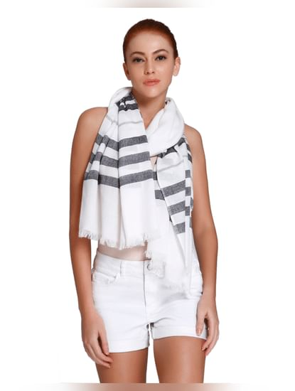 White Striped Scarf
