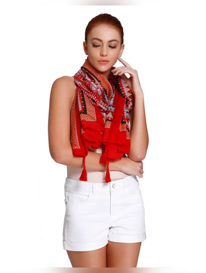 Red All Over Print Scarf