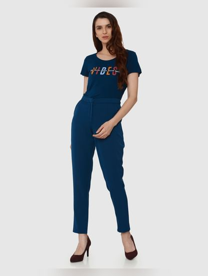 Blue Mid Rise Pearl Embellished Skinny Jeans